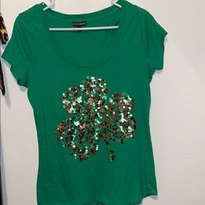 Express sequin shamrock shirt.